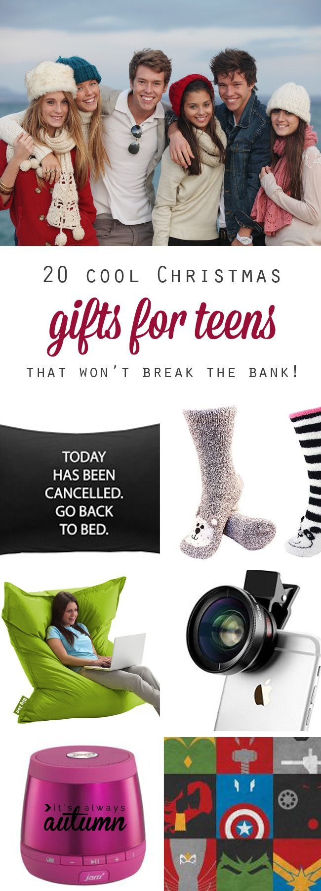 best Christmas gift ideas for teens: great holiday or birthday gift ideas for teenage boys and teenage girls. Very cool, fun ideas and some are even cheap!