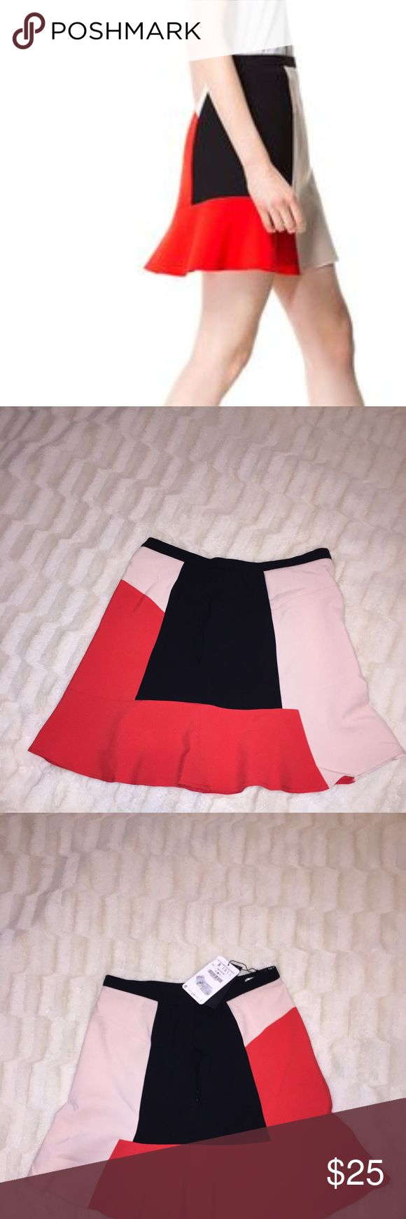"""ZARA Woman Colorblock Trumpet Skirt size Small This is an adorable colorblock trumpet skirt from Zara Woman, in a size small. It has an asymmetrical color block design.  Similar style seen on Olivier Palermo! Super cute for fall - would look great with black tights or black over-the-knee boots! I love this skirt, but I am too tall for it (I'm 5'10"""").  ❌No trades  ❌Poshmark Transactions Only  ❌No asking for the lowest price Zara Skirts Mini"""