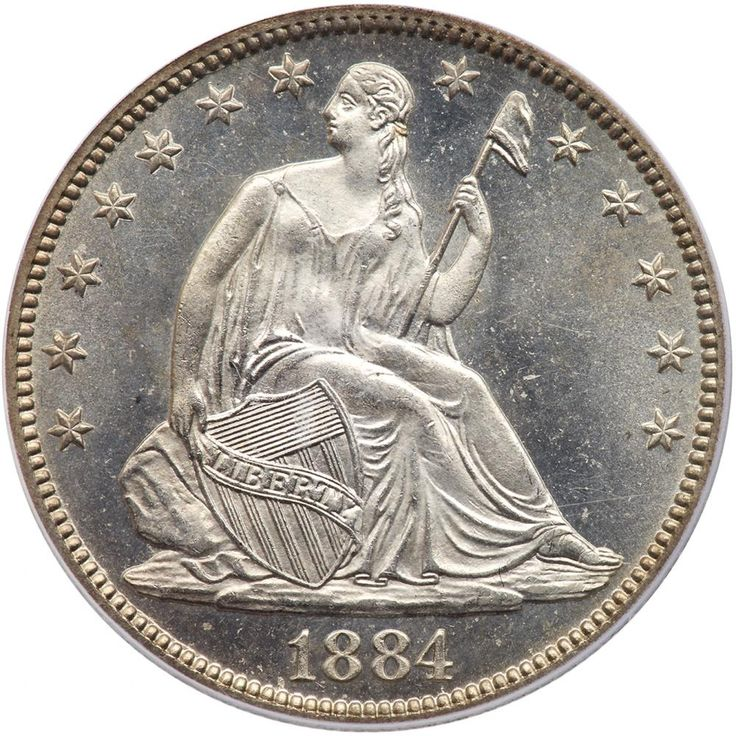 """1884 Liberty Seated 50C PCGS MS65 A nice white coin with reflective fields. Only 4,400 struck during a period when new coinage demands fell to almost nothing. This was the result of the Civil War, where nearly all the available silver and gold coins were hoarded, while that war was financed by the North with """"greenbacks"""", those paper dollars were used instead of coins for transactions. The paper value fell relative to gold and silver coins, and this crisis was not solved until 1879 when the…"""