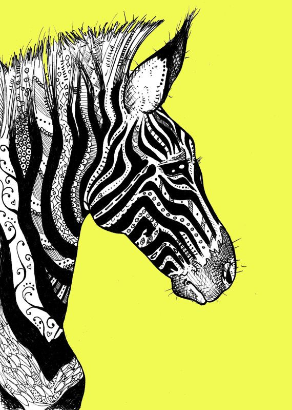 Tattooed Zebra 2 Print on Bright Yellow by taramcauley on Etsy, $10.00