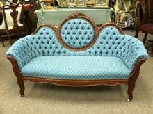 Beautiful Antique Victorian Oval Back Settee Sofa Blue