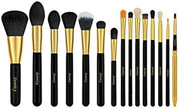 Kit de Pinceau maquillage Professionnel 15 PCS Ombre à Paupière Blush Fondation Pinceau Poudre Fond de teint Anti-cerne Kit Pinceau - avec un sac