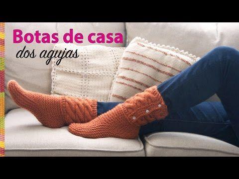 Botas de casa tejidas en dos agujas en punto santa Clara o bobo y trenzas básicas - YouTube