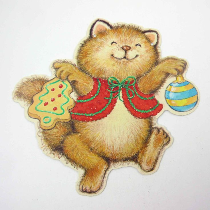 Vintage 1980s Christmas Die Cut Critter by grandmothersattic