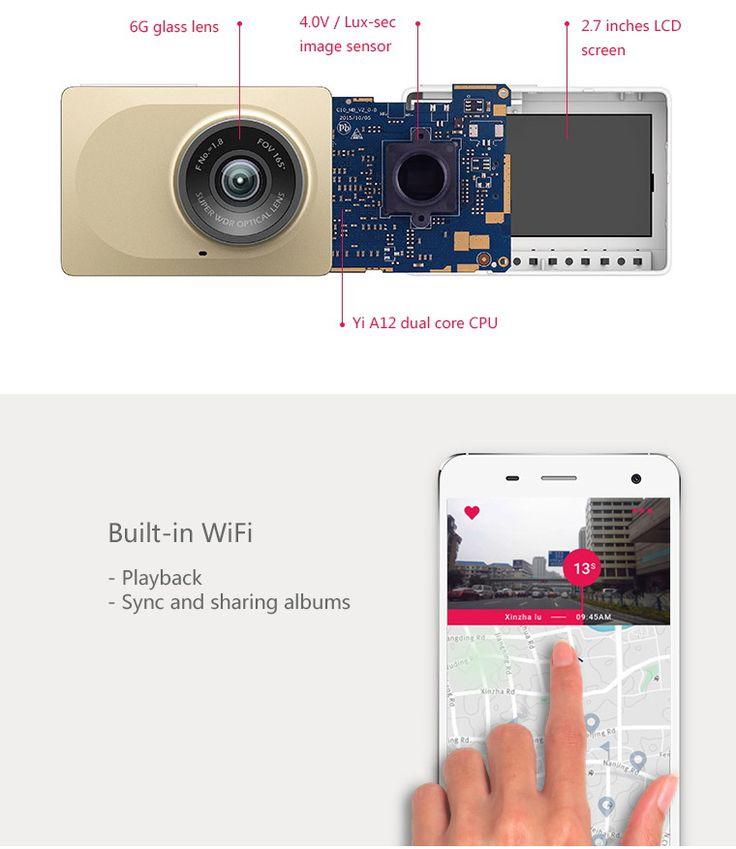 "Xiaomi Yi 2.7"" 1296P ADAS Wi-Fi Car DVR Camcorder - Grey - Free Shipping - DealExtreme"