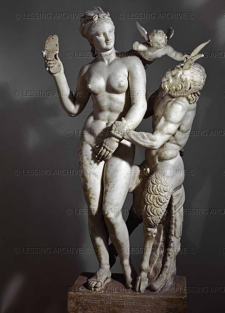 Aphrodite,Pan and Eros.Pan harasing Aphrodite who has just stepped her bath.The godess threatensto punish him with her sandal  A tiny Eros helps to defended his mother by grasping Pan's horn.  From Delos  National Archeological Museum of Athens,Greece