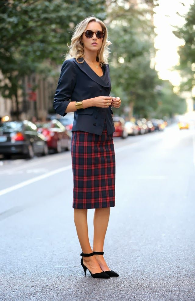 The Classy Cubicle: Tactful Tartan. The fashion blog for professional women in need of office style inspiration and work wear ideas for the corporate world and beyond. {zara, elizabeth and james, plaid, pencil skirt, double breasted navy blazer, asos, karen walker, super duper, essie, berry naughty, j. crew, cuff, fall fashion trends}