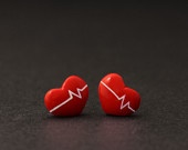 Beating Heart Earrings Studs, Valentine Earrings, Lovely Jewelry Gifts