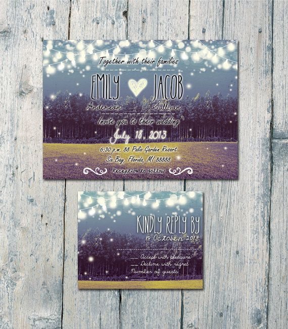Digital - Printable Files - Garden, Night Lights and Fireflies Wedding Invitation and Reply Card Set - Wedding Stationery - ID218
