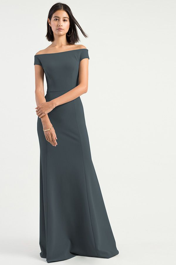 2fed382b8a5b The Larson dress by Jenny Yoo Collection 2019 Bridesmaids has a statuesque  & sleek fit & flare silhouette with a romantic off the shoulder neckline in  our ...