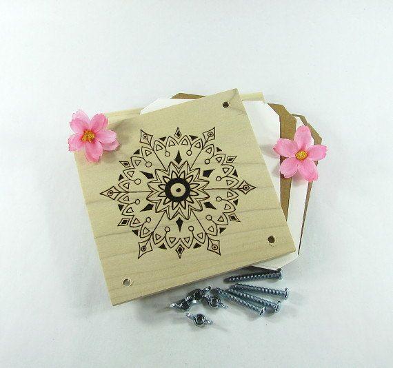 Flower Press  Wood Pyrography  Mandala Plant Press by bkinspired