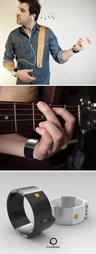 Soundbrace invisible guitar - wearable device that transforms user's arms and fingers into instruments. Designed by Eugene Wang