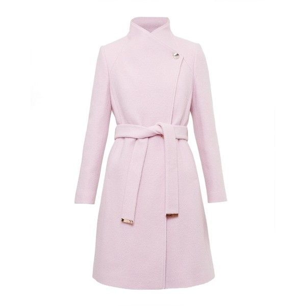 Ted Baker Safiera Textured Long Wrap Coat (€370) ❤ liked on Polyvore featuring outerwear, coats, blush, women, funnel neck coat, leather-sleeve coats, ted baker coat, long pink coat and pink coat