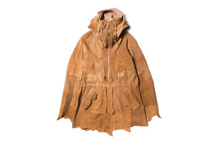 TAKAHIROMIYASHITA The SoloIst. have released itsrough out anorak. Constructed from 100% premium leather,the sheepskin pullover style jacket features a half-length zipper, an adjustable hood withlea...