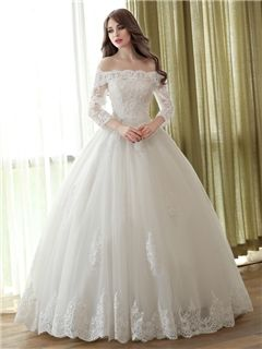 ericdress elegante con el vestido de boda del vestido de bola del hombro