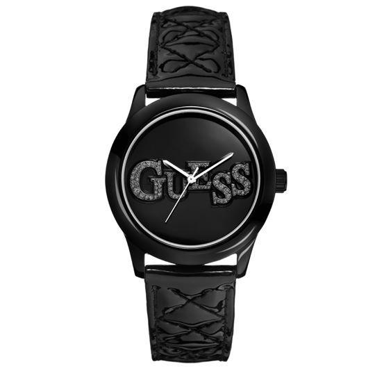 GUESS Ρολόι Γυναικείο με Δερμάτινο Μαύρο Λουράκι. Θα το βρεις στο e-shop μας με 25% έκπτωση.