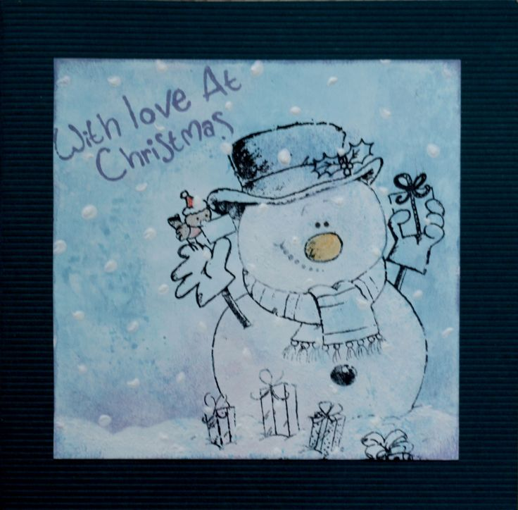 Had to play with gesso! Dabbed gesso to make the snowman (made my own mask), used cotton swabs for the snowflakes.  background is sponged distress ink.  That's all! :)