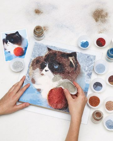 Glitter Painting....I know what to do with all of those Martha Stewart glitters I have! Looks interesting to try.