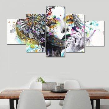 Abstract Beautiful Girl Modern Home Decor Printed Canvas Art Print