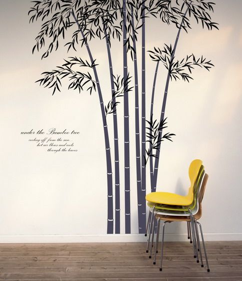 Bamboo stencils for the wall beautiful bamboo wall - Painting designs for walls in your home ...