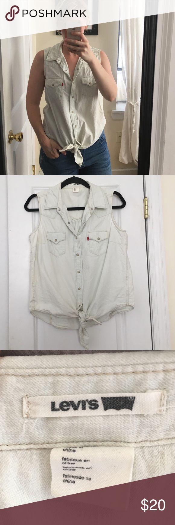 Levi's sleeveless denim shirt Super light wash denim sleeveless shirt. Button closure, 100% cotton. Worn once. Levi's Tops Button Down Shirts