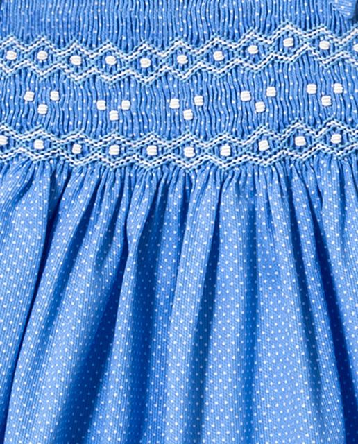 Vestido de bebé niña Dulces en azul con smock