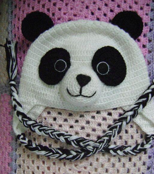 RN - Gorro Panda em Crochê Para Bebê