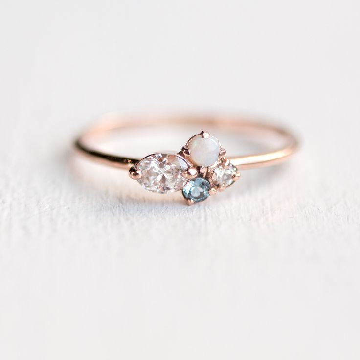 Mini Cluster Ring - Oval moonstone with aquamarine and opal mini cluster by Melanie Casey