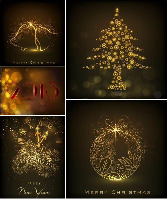 Dark gilded Christmas backgrounds vector