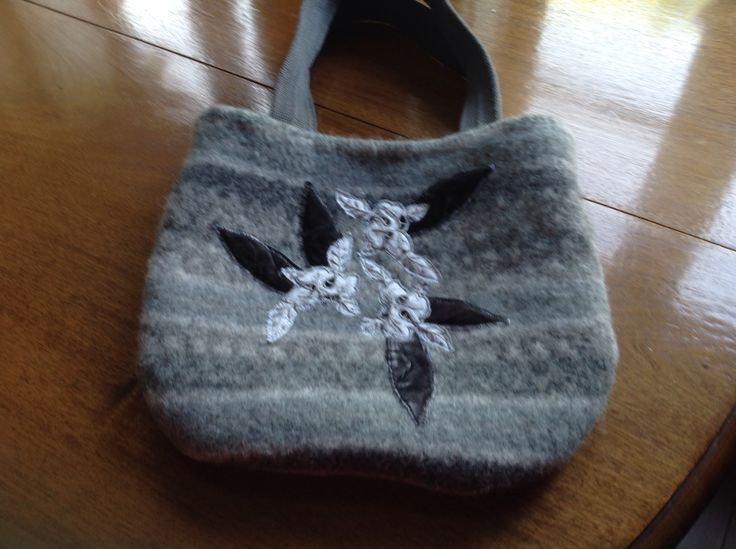 Boiled wool felted bag with velvet and lace embellishments. Kay Horne