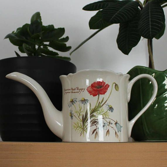 Vintage ceramic watering can Staffordshire china made in