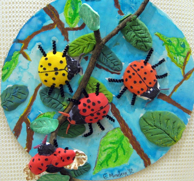 insect art lesson with model magic and paint can do on cake rounds or
