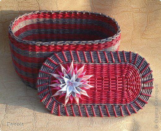 Поделка изделие Плетение Овальные плетёные изделия Трубочки бумажные фото 1