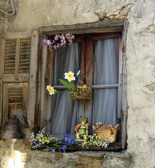 The tulips in the little basket are pretty! Great window, great wall, awesome flowers.