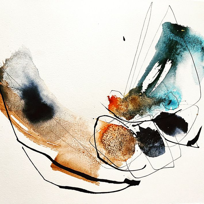 Josee Prudhomme - aquarelle et encre watercolor & ink - abstract - calligraphy
