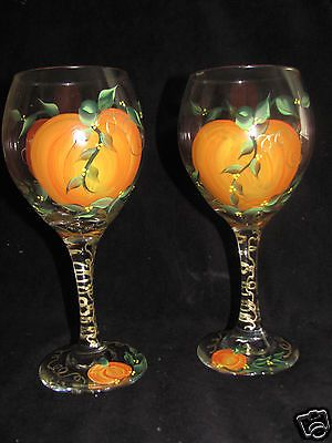 Hand Painted Fall/Pumpkin/Thanksgiving Wine Glasses - NEW Design
