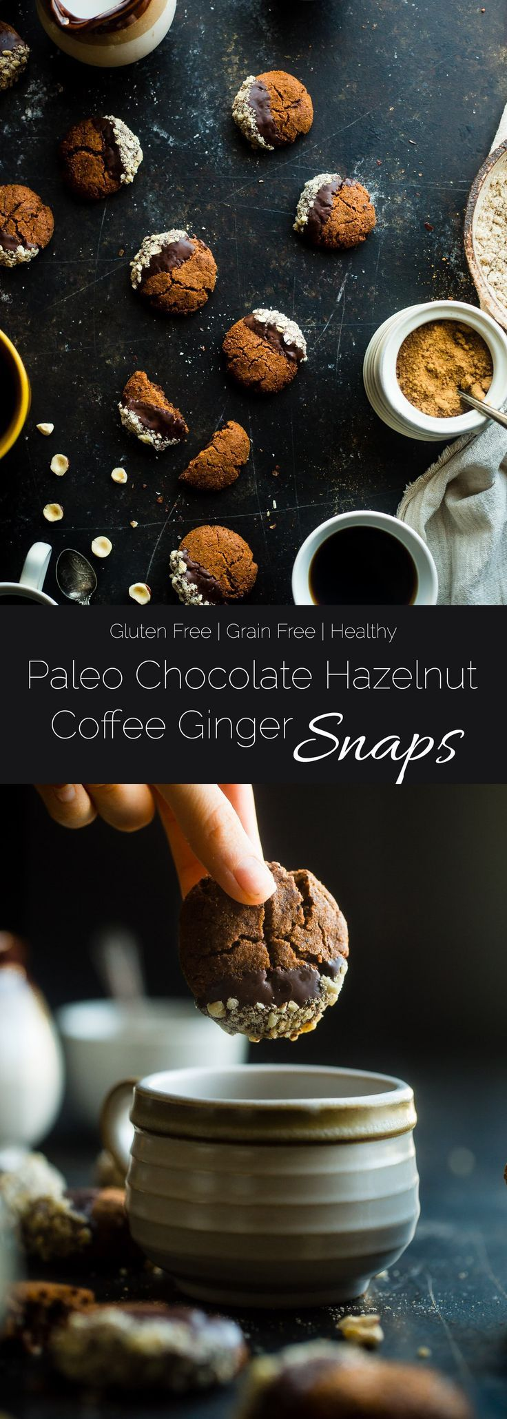 Paleo Chocolate Hazelnut Coffee Ginger Snaps - This easy, sweet and spicy paleo chocolate hazelnut healthy ginger snap recipe has notes of rich coffee! They're the perfect healthy, gluten free cookie for the Holidays! | Foodfaithfitness.com | @FoodFaithFit