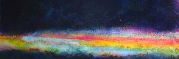 """Opening Your Heart into the Night""; 38cm x 89cm; Mixed Media on Belgian linen; SOLD"