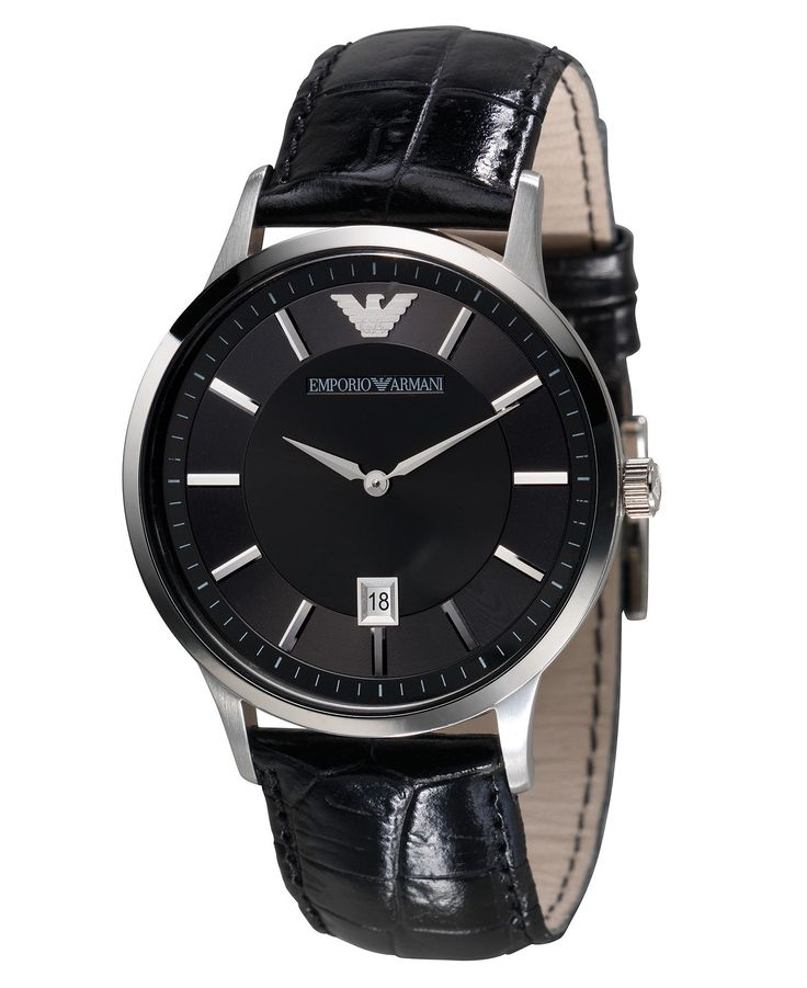 Emporio Armani Watch, Mens Black Leather Strap AR2411 - All Watches - Jewelry & Watches - Macys