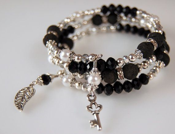 Rhinestone Black & Pearl Memory Wire by SilverChaseDesigns on Etsy, $25.00