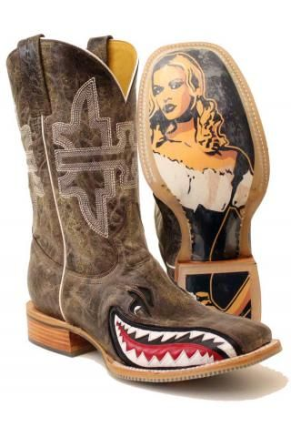 Tin Haul Gnarly Shark Cowboy Boots Urban Western Wear pigman