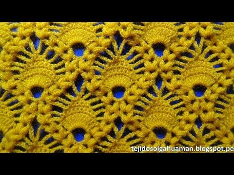 crochet : punto combinacion de arañitas con punto garbanzo - YouTube