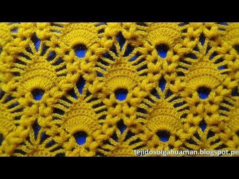 Crochet: Punto Hojas en Relieves - YouTube