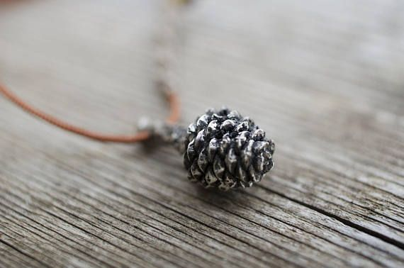 Sterling Silver Pinecone Necklace Woodland Jewelry Dainty