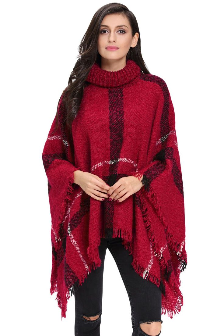 Red Turtleneck Cape Sweater LAVELIQ Plus