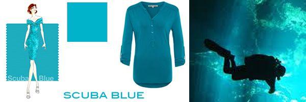 Scuba blue is het blauw van de onderwater wereld. Het is een koele maar geen saaie kleur blauw met een iets groene onder tint.