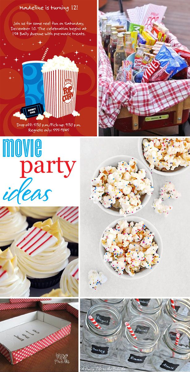 MOVIE NIGHT PARTY here is some fun ideas, from invitations to sweet treats to clever DIY movie concession boxes to mason jars with chalkboard labels — all the ingredients for a fabulous movie night !