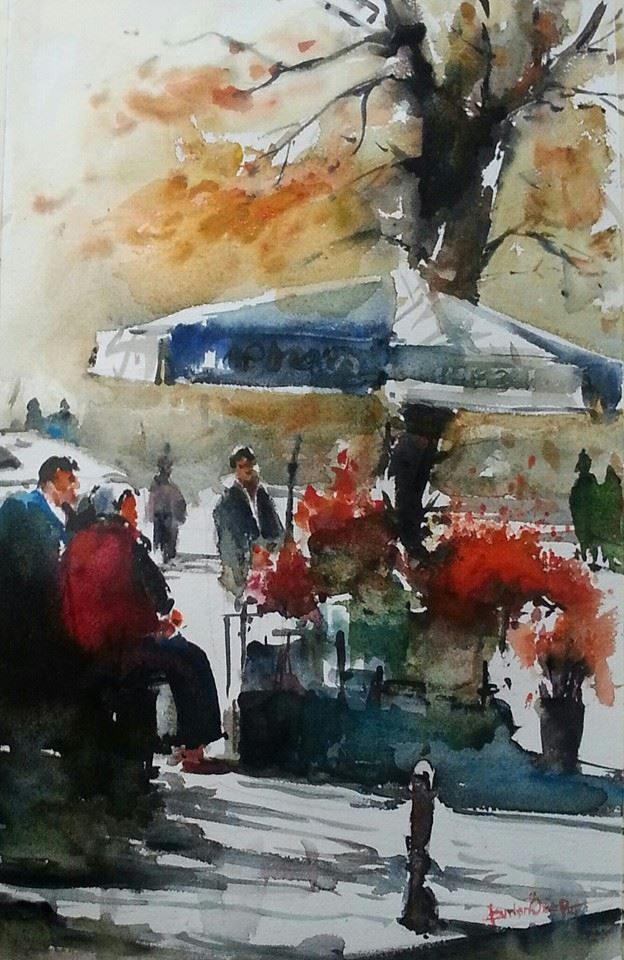 1573 best images about watercolor street scenes on for Watercolor scenes beginners