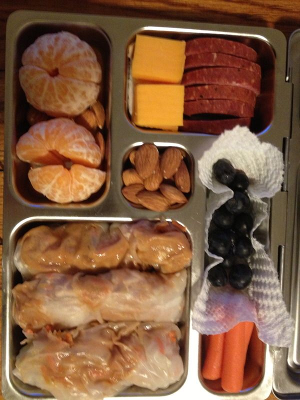 thai rice paper rolls, salami and cheese, clementines, almonds, carrots, blueberries