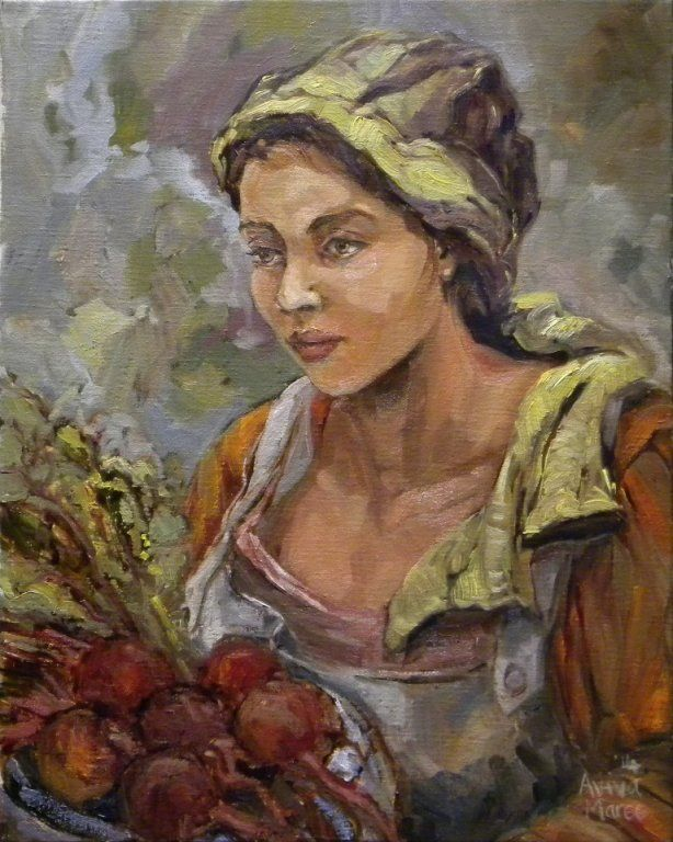 SB189. Aviva Maree, Oil on canvas, Size 40 x 50 - 'Kombuismeisie met Beet'
